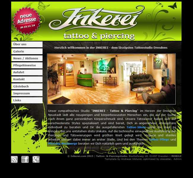 inkerei tattoostudio home 2014 screenshot